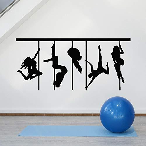 DLYD Pole Dance Silhouette Tatuajes de Pared Bailarina Arte Vinilo Etiqueta de la Ventana salón de Baile decoración Interior Papel Tapiz 45x97.5cm