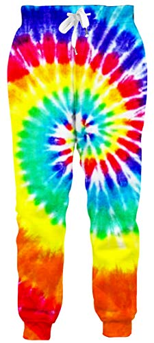 Goodstoworld Mens Womens Tie Dye Jogger Pants Cool Funny Sweatpants 3D Graphic Sportswear Athletic Pants Casual Hipster Running Pants with Pocket,Medium