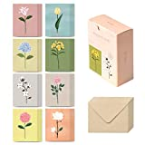 Monolike Message Card The Flower - Mix 40 Cards, 20 envelopes Pack, Emotional and Sophisticated Mini Cards