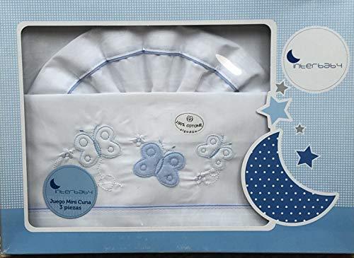 Sabanas 100% Algodón MINICUNA 50X80 - (bajera+encimera+funda almohada) Colores a elegir (Mariposas azul)
