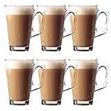 Lot de 6 tasses à latte élégantes de 11 cm 240 ml – Idéal pour thé, café, latte, cappuccino, expresso, chocolat chaud