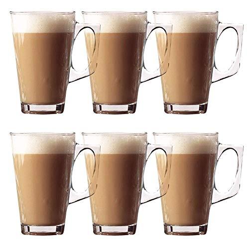 Set mit 6 Latte-Gläsern, Stilvolle 11 cm Kaffeetassen, 240 ml, ideal für Tee, Kaffee, Latte, Cappuccino, Espresso, heiße Schokolade
