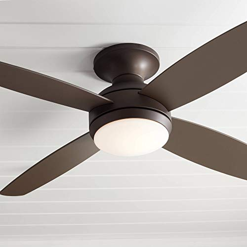 52' Casa Elite Modern Hugger Low Profile Ceiling Fan with Light LED Dimmable...