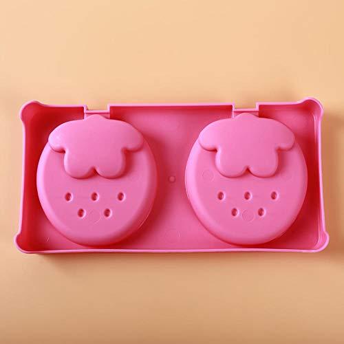 Eisform Silikon Eiscreme Werkzeuge e Diy Hausgemachte Erdbeersorbet Eisform Box Diy Eisbox Eismaschine Eis Am Stiel Form Gadgets-Rose_Red