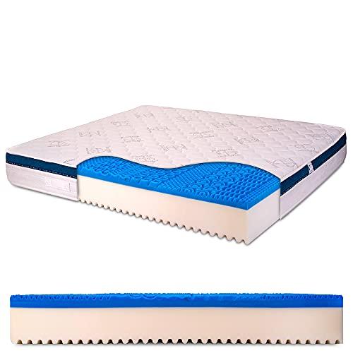Materasso Matrimoniale memory gel 6 cm, alto 25 cm con bayscent neutralizer, Antimuffa, Ortopedico - Dolce Sonno 160 x 190 cm (matrimoniale) - Presidio Medico Sanitario n.1392037 R