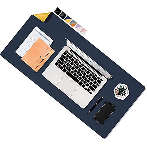デスクマット 超大判 マウスパッド 多機能 学習 PC デスクマット bigサイズ マウスパッド ゲーム用 事務所机用 パソコンマット レーザー 光学式マウス対応 90cm*45cm 両方の側が利用可能 青+イエロー