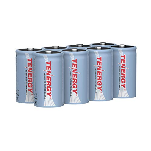 Tenergy 10000mAh NiMH D Battery, Rechargeable High Capacity D Size Battery, High Drain D Cell Batteries for Flashlight, 8-Pack - UL Certified