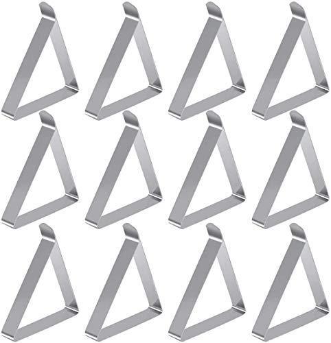HQdeal 12 Stück Edelstahl Tischtuchklammern, Tischdecke Halter, Tischtuch Klammer,Tischdecke Clips für Garten, Picknicks und Restaurant,Silber