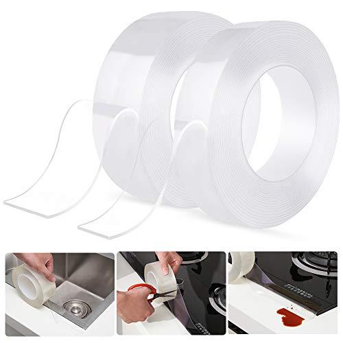 Selbstklebende Dichtband,[2 Stücke]Schimmelfest Dichtband,Wasserdichtes klebeband,Auf die Küche/Toilette/Badezimmer in der Ecke,Verhindert,Dass Feuchtigkeit und Verhindert Schimmel(3cmx5m + 5cmx5m)
