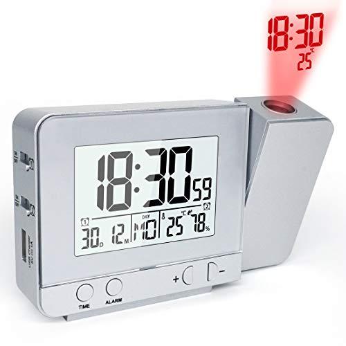 MAMASAM Despertador proyector Reloj Alarma Digital Fecha Proyector Función con Tiempo de proyección del Reloj LED con Cargador USB,Silver