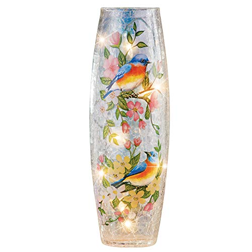 Collections Etc Colorful Blue Birds Floral Cracked Glass Hurricane Lamp - Home Décor for Any Room