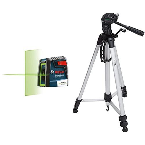 BOSCH GLL40-20G Green-Beam Self-Leveling Cross-Line Laser & Amazon Basics 60-Inch Lightweight Tripod with Bag