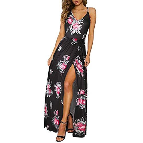 Amcool Damen Strandkleid Sexy V-Ausschnitt Bohemian Lang Kleid Sommerkleid Ärmellos Rückenfrei Boho Blumenmuster Kleider Maxikleid Party Chiffon Kleid mit Schlitz