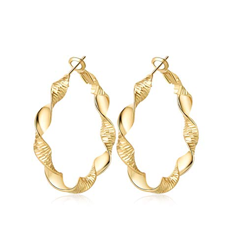 Yumay Hand Twisted New Design Creole Hoop Earrings 9ct Gold Filled Hoops for Women or Girls(40mm)