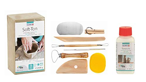 Glorex Set para Creatividad: Arcilla Blanda de 2500 g en Color Blanco, endurecido al Aire o inflamable, 100 ml de Grosor y un Juego de 8 Piezas con Herramientas de Modelado Resistentes