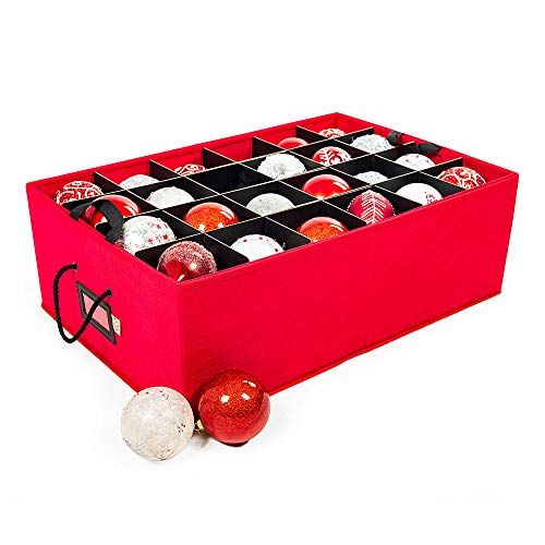 Santas Bags Christmas Ornament Storage Box with Dividers - Holds 48 Ornaments up to 4 Inches in Diameter  Acid-Free Removable Trays with Separators  2 Removable Trays - Red