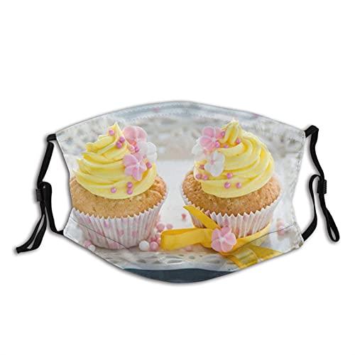 Máscara facial cómoda magdalenas tortas crema amarillo a prueba de sol moda Bandana Headwear para la pesca
