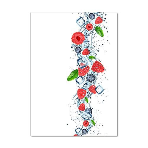 Tulup Glas-Bild Wandbild aus Glas - Wandkunst - Wandbild hinter gehärtetem Sicherheitsglas - Dekorative Wand für Küche & Wohnzimmer 60x120 - Essen & Getränke - Waldfrüchte und EIS - Rot
