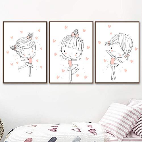 YDGG liefde ballet danseres wandkunst canvas schilderij poster afdrukken foto's kinderen baby meisjes kamer wooncultuur -40x60cmx3 stuks Geen lijst