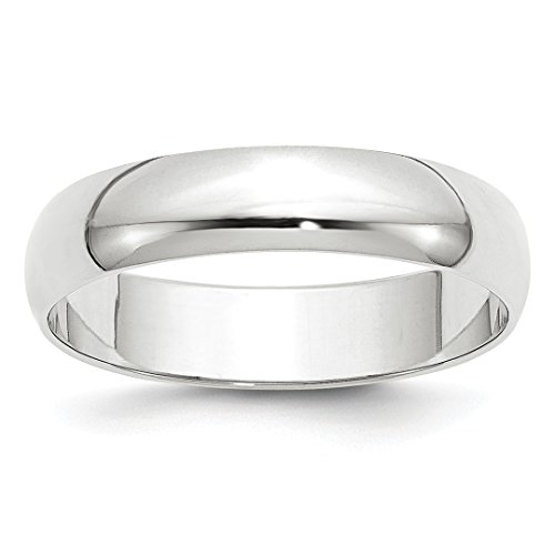 14k White Gold 5mm Half Round Wedding Ring Band Size 11.5 Classic Fine Jewellery For Women Gifts For Her