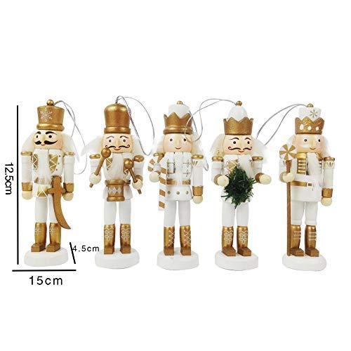 Krystallove Packung mit 5 Holz Nussknacker Soldaten Christbaumschmuck, Nussknacker Soldat Puppet Ornamente, Weihnachtsschmuck Geburtstagsgeschenke