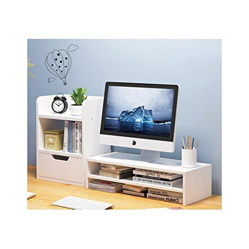 LICHUAN Madera Desktop Bookshelf Disponible Organizador Monitor de computadora Soporte con Soporte de cajón Estante de Almacenamiento Estantería Estantería Encimera de encimera (Color : E)