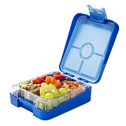 Navaris Bento Box Lunch Box Brotdose Vesperbox - auslaufsicher mit variablen Fächern - herausnehmbare Innenschale - für Jungs Mädchen - dunkelblau