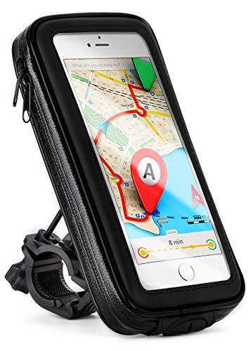 moex Wasserfeste Lenkertasche passend für Samsung Galaxy A50 / A30s   Rotierbar mit bedienbarem Sichtfenster für Vorbau, Lenker und Rahmen, Schwarz