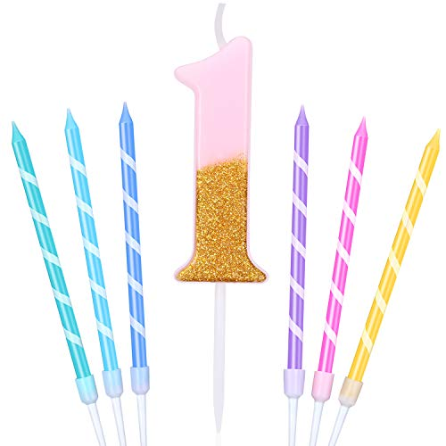 1st Birthday Number Candles Pink Golden Glitter Cake Candles Topper Decoration and 6 Pieces Colorful Striped Spiral Cake Candles with Holders for Baby Birthday Party Wedding Cake Decorations