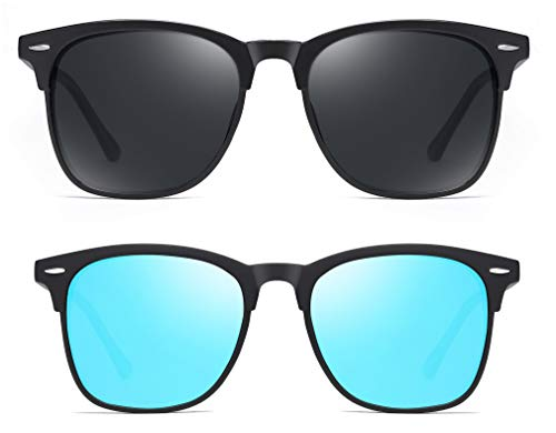 Effnny 2 piezas Gafas de sol polarizadas para hombres y mujeres, protección UV, Lentes de sol espejadas 3323 (azul hielo negro)