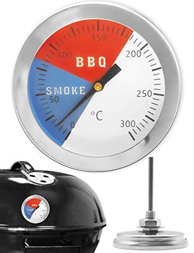HomeTools.eu® - Temperatur-Beständiges, analoges BBQ Grill-Thermometer Koch-Thermometer, zum Nachrüsten für BBQ Smoker Grill Töpfe Bräter Räucher-Ofen, Ø 5.2cm, 0°C - 300 °C