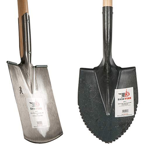SHW-FIRE 59124 Set Spatenschaufel Wellenschliff und Gärtnerspaten Spaten Stahl mit Stiel Holz