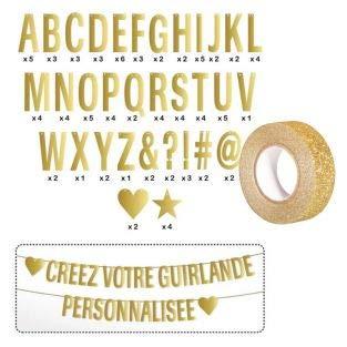 DIY slinger met letters goud + gouden glitter tape 5 m
