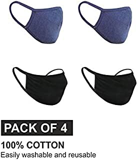 nestroots Cotton Face Mask Pack of 4 Washable Reusable Face Masks  Soft Earloop/Mouth Nose cover Face Masks Men Women Kids Unisex  cover Face Masks (navy blue & black)