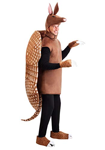 Adult Armadillo Costume with Tunic, Shell, Hood, Mitts and Shoe Covers Standard Brown