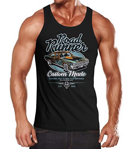 Neverless® Herren Tank-Top Roadrunner American Muscle Car Tuning Retro Sports Car Vintage Motiv Muskelshirt Muscle Shirt schwarz L