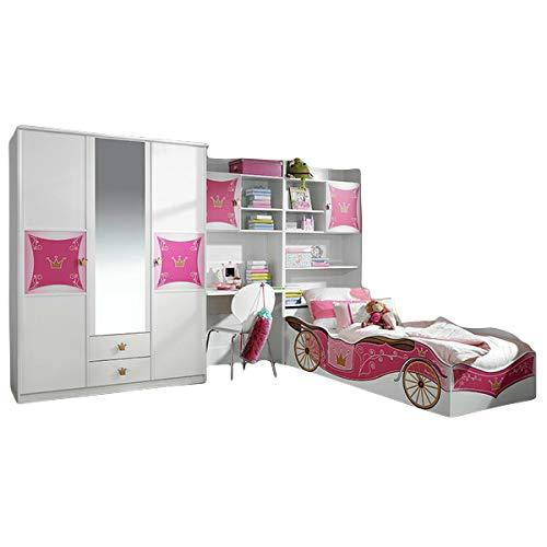 Kinderzimmer Zoe3 4-TLG Kleiderschrank Schreibtisch + Regal inkl Bettkasten Bett Mädchen GS-geprüft Blauer Engel Jugendzimmer