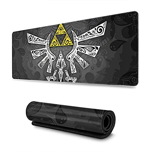 Classic The Legend of Zelda Logo Yellow 31.5x11.8x0.12inch A Link Between Worlds Extra Large Gaming Mouse Pad with Stitched Edges Durable Non-Slip for Work & Gaming, Office & Home Mouse Mat