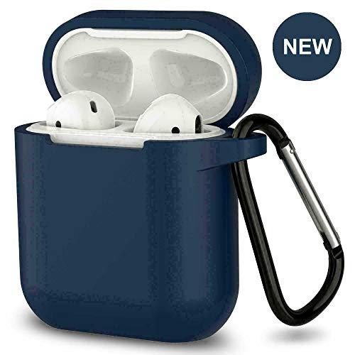 Ellenne  Cover Silicone Slim Compatibile per Apple AIRPODS 1 E 2 Custodia AntiGraffio + Gancio (Deep Blu)