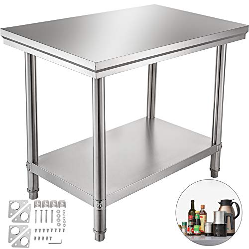 VEVOR Table de Travail Cuisine INOX 60X90X80 cm Plan de Travail Cuisine en 2 Etage Table de Travail en Acier Inoxydable pour Préparation de Cuisine d'Aliment des Repas Hôtels Bureaux Hôpitaux