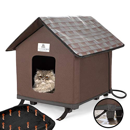 FURHOME COLLECTIVE Heated Cat Houses for Indoor Cats, Elevated, Waterproof and Insulated - A Safe Pet House and Kitty Shelter for Your Cat or Small Dog to Stay Warm & Dry.
