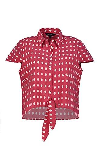 Ulla Popken Rozmiary damskie, wiązanie z krótkim rękawem, slim fit bluzka, czerwony, 54