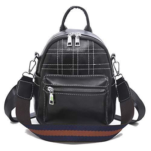 T-ara Neueste PU Plaid Minirock Rucksack Unverzichtbar für Reisen im Freien (Color : Black, Size : 17 * 9 * 22cm)