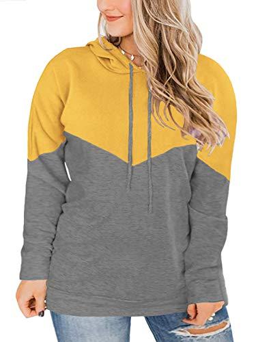 Plus Size Tops for Women 2X Color Block Sweatshirts Yellow 18W