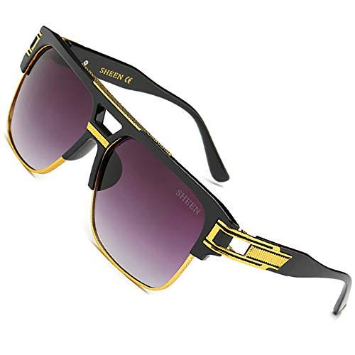 SHEEN KELLY 80's Große Retro Sonnenbrille Square Piloten Brille Herren Damen Spiegel Linsen Eyewear Schwarz Metall Gold UV400 Oversized