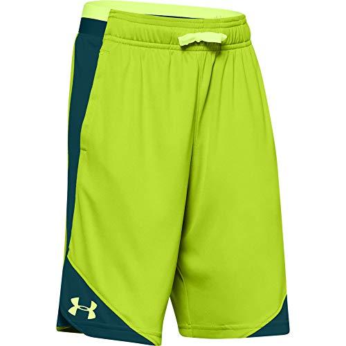 Under Armour Jungen Stunt 2.0 Workout Gym Shorts, Jungen, Shorts, Stunt 2.0 Workout Gym Shorts, Green Citrin (394) / Lime Fizz, Small