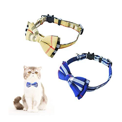 Andiker Schnellverschluss Katzenhalsband mit Glocke und Fliege, verstellbares und weiches Haustierhalsband, geeignet für Welpen und süßes Kätzchenhalsband (Gelb,Blau)