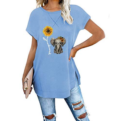 DREAMING-Camiseta De Manga Corta De Primavera Y Verano para Mujer, Cuello Redondo Estampado, Camiseta con Hombros Descubiertos En La Parte Delantera Y Trasera Cielo Azul S