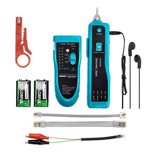 Jiguoor Kabeltester Kabelfinder Leitungssucher Wire Tracker Netzwerkprüfgeräte RJ45 RJ11 für Kabel, Telefonleitungen, LAN-KabelNetzwerk Ethernet LAN