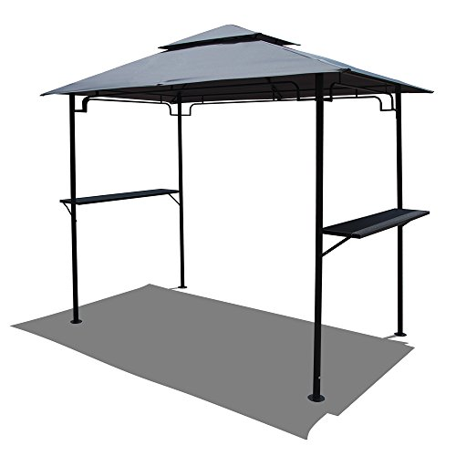 COBANA Grill Gazebo 8'by 5'Outdoor Patio Backyard BBQ Grill Shelter Double Tiered Soft Canopy Top with Steel Frame and Bar Counters, Gray